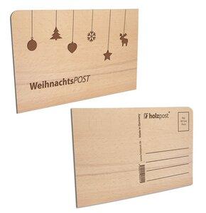 Weihnachtspostkarte aus Holz - holzpost