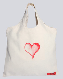 Canvas Tasche   Bio Fair   Heart & Broken Heart - milch Basics