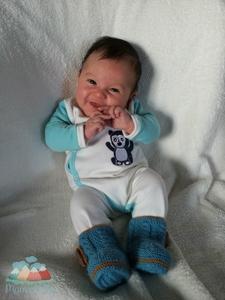 Pima Baby Schlafanzug, weiß/eisblau - Mama Ocllo®