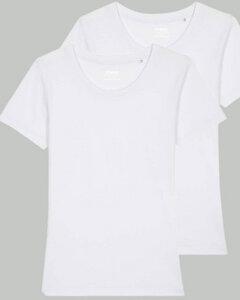 2er Pack Basic T-Shirt Damen Weiß, Bio-Baumwolle - YTWOO