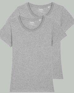 2er Pack Basic T-Shirt Damen, Bio-Baumwolle, drei Farben meliert - YTWOO
