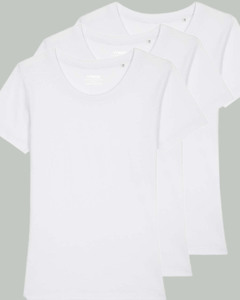 3er Pack Basic T-Shirt Damen Weiß, Bio-Baumwolle - YTWOO