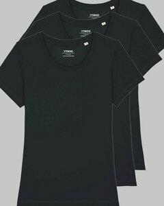 3er Pack Basic T-Shirt Damen Schwarz, Bio-Baumwolle - YTWOO