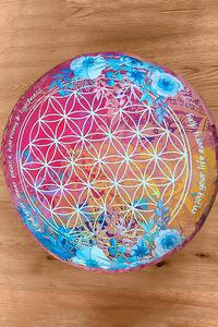 Meditationskissen rund pink/bunt - The Spirit of OM