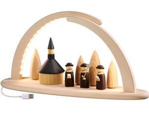 Moderner Schibbogen Lichterbogen mit LED Beleuchtung Seiffener Kirche  - Seiffener Volkskunst