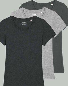 3er Pack Basic T-Shirt Damen meliert dreifarbig sortiert, Bio-Baumwolle - YTWOO