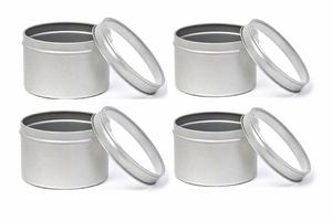 4 oder 6 Stück Set Metall Kräuterdosen 75 mm x 53 mm / Klarsichtdeckel - DS