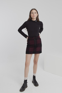 Rock - Wine Checks Mary Skirt - Rot / Schwarz - thinking mu