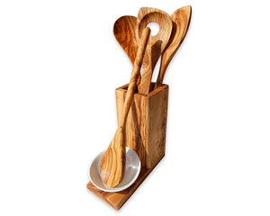 5-tlg. Set ALL-IN Kochlöffel mit Auffangschälchen & Utensilienbox - Olivenholz erleben