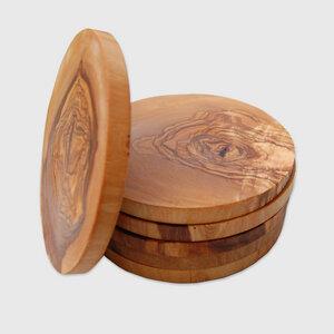 Untersetzer RUND (ø 11,5 cm) 6er Set aus Olivenholz - Olivenholz erleben