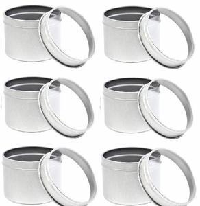 6 Stück Set Runde Metall Gewürzdosen 60 mm x 50 mm mit Klarsichtdeckel - DS