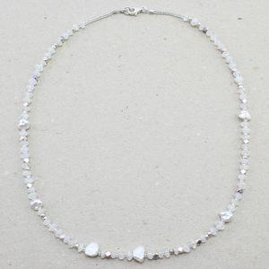 """Collier """"Lili"""", Fair-Trade-Labradorit, Silber- und Keshi- Perlen - steinfarben"""