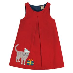 Frugi Cordkleid tango red Katze Applikation - Frugi