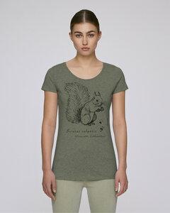 """faircato Damen-Shirt """"Sciurus vulgaris"""", das Eurasische Eichhörnchen in heather khaki - faircato"""
