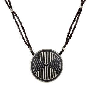 Upcycling Halskette - Linear Arrow - Straußeneischmuck - Mambu Design
