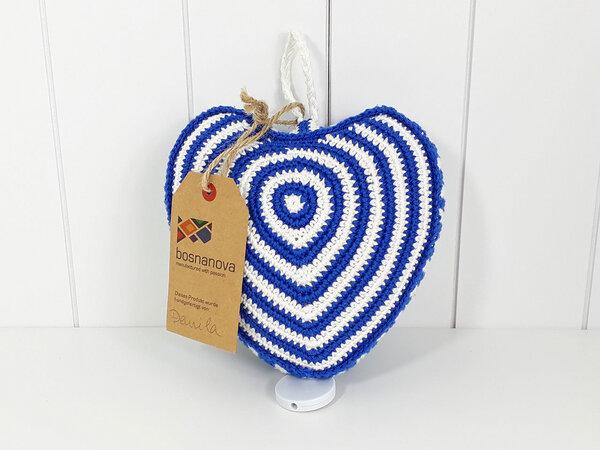 Spieluhr Merlin Herz Blau Weiß - Hangefertigt Aus Baumwolle