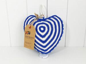 Spieluhr MERLIN Herz blau weiß - hangefertigt aus Baumwolle - bosnanova