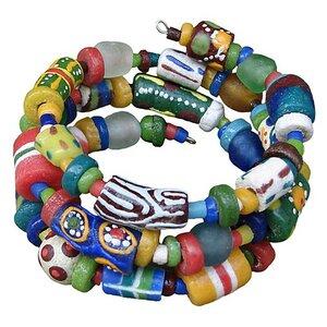 Upcycling - Hodge Podge Glasperlen Armband - Spirale  - Bunt - Global Mamas