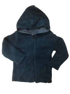 Kapuzen Wendejacke Fleece petrol - Leela Cotton