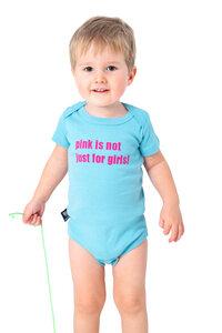 "Bio-Babybody ""pink is not just for girls"" hellblau - Hirschkind"