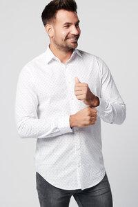 Nachhaltige Langarm Herren Hemd Spotted White Slim Fit 100% Bio - SKOT Fashion