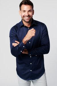 Nachhaltige Langarm Herren Hemd Navy Satin 100% Bio - SKOT Fashion