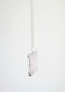 Rosenquarz Halskette, versilbert - Crystal and Sage
