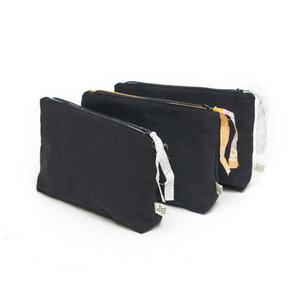 Kosmetiktasche mit Reißverschluss, upcyling & bio, Canvas schwarz used - diejuju