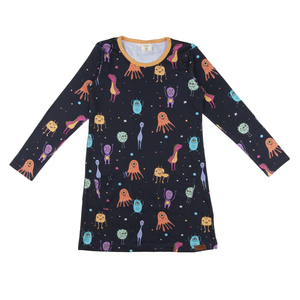 Walkiddy Tunika Langarm blau schwarz Monster 100% Baumwolle (bio) - Walkiddy