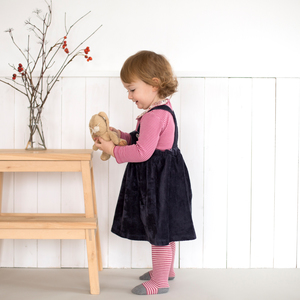 Babykleid dunkelblau Nicki mit Body im Set  - People Wear Organic