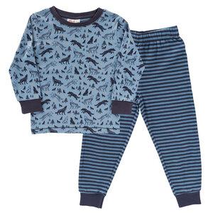 "Pyjama blau mit Druck ""Wölfe""  aus Bio-Baumwolle - People Wear Organic"