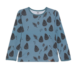 Walkiddy Shirt Langarm  Mädchen Pine Cones eisblau 100% Baumwolle (bio) - Walkiddy