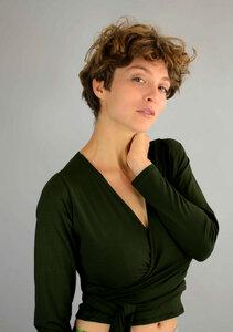 Wickeljacke, Wickelshirt, Yogajacke Pia in grün oder schwarz - ManduTrap