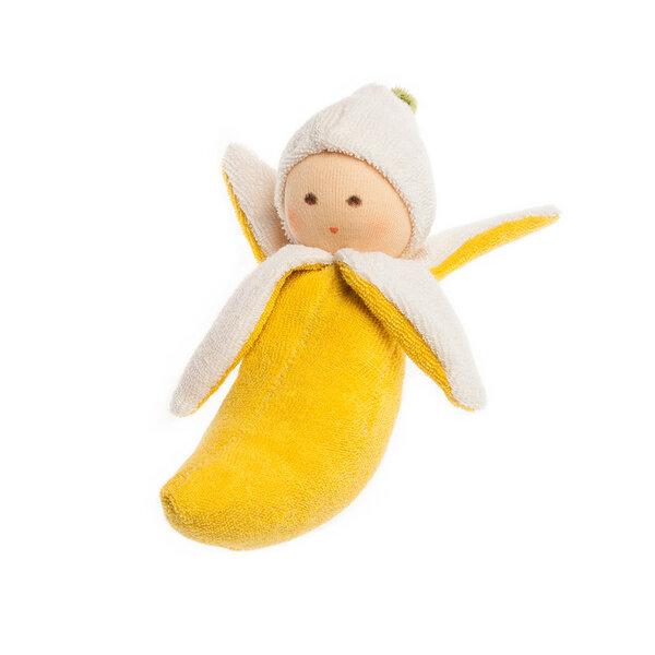Nanchen Greifling Banana Mit Rassel Bio-baumwolle/bio-wolle