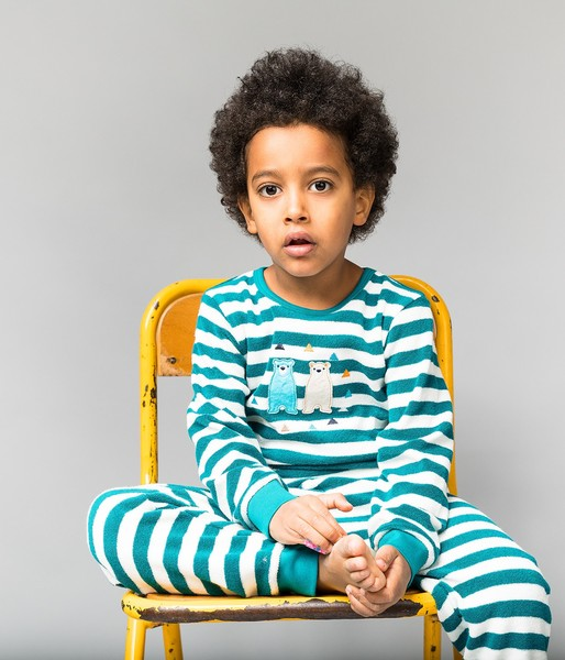 Pyjama Long John- Kinder Frottee Schlafanzug Lang Geringelt, Petrol Mit Bären Applikation