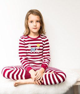 Pyjama Long John- Kinder Frottee Schlafanzug lang geringelt, bordeaux mit Reh-Motiv - -