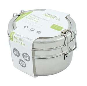 Lunchbox Brotbox Food Canister Edelstahl Doppeldecker Rund Chapra  - A Slice of Green