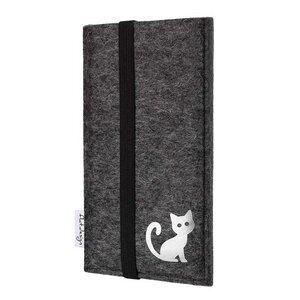Handyhülle COIMBRA mit Katze für Huawei P-Serie - VEGAN - Filz Tasche - flat.design