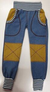 Mitwachs-Jeans hellblau mit Taschen und ockerfarbenen Cordflicken - Omilich