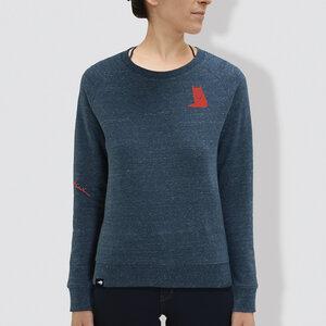 "Damen Sweater, ""Fuchs"", Dark Heather Blue - little kiwi"