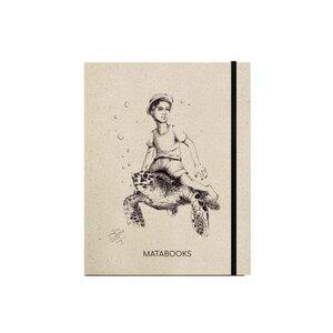 "Notizbuch Graspapier ""Below sealevel"" (black/carton) - Swiss Brochure - Matabooks"