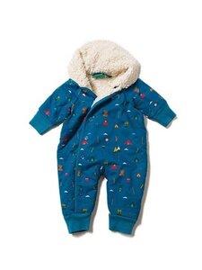 Baby u. Kinder Schneeanzug grün Hund Scotty u. blau Berge kbA Baumwolle Little Green Radicals - Little Green Radicals