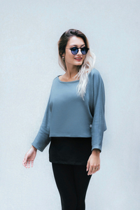 Umstands- und Stillpulli kurz: Crop Top dick in goblin blue - stillfashion