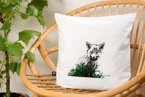 Bio-Kissenbezug 'Junger Fuchs' natur 40*40 - Hirschkind