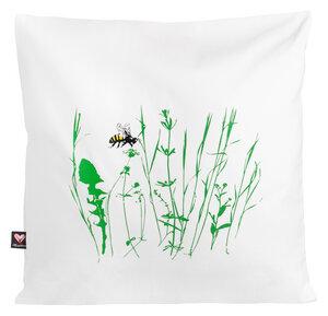 Bio-Kissenbezug 'Bienenwiese' weiß, 40*40cm - Hirschkind