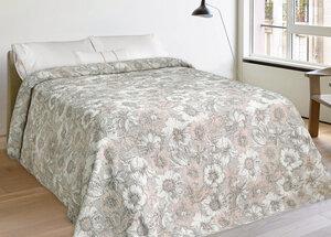 Leinen-Bettüberwurf mit Blumenmotiv - Marschall & Riedler