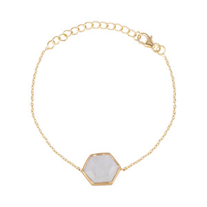 Hexagon Bracelet Stone Gold - Protsaah