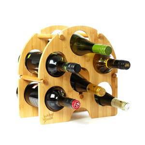 Rundes Weinregal für 6 Flaschen aus 100% Bambus | Flaschenregal - Bambuswald