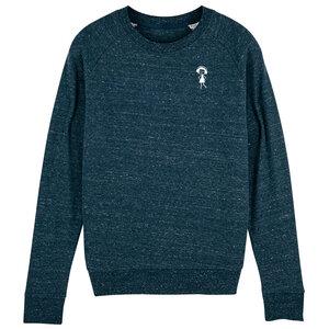 Damen Sweatshirt Logopulli Blau Meliert Bio Fair - FellHerz