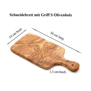Schneidebrett Olivenholz Massiv mit Griff verschiedene Größen 30cm / 40 cm/ 50 cm - NATUREHOME
